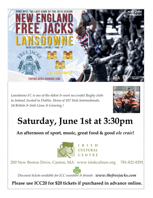 Irish Cultural Centre of New England Free Jacks Rugby Game